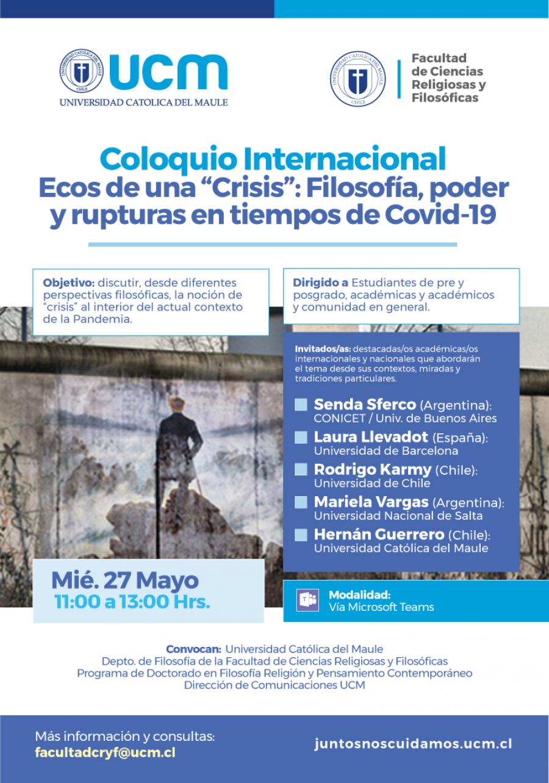 """Coloquio Internacional Ecos de una """"crisis"""": Filosofía, poder y rupturas en tiempos de Covid-19"""